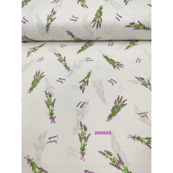 mintás pamutvászon/ Provence levander(levendulacsokor 6cm*2,5cm)/ fehér