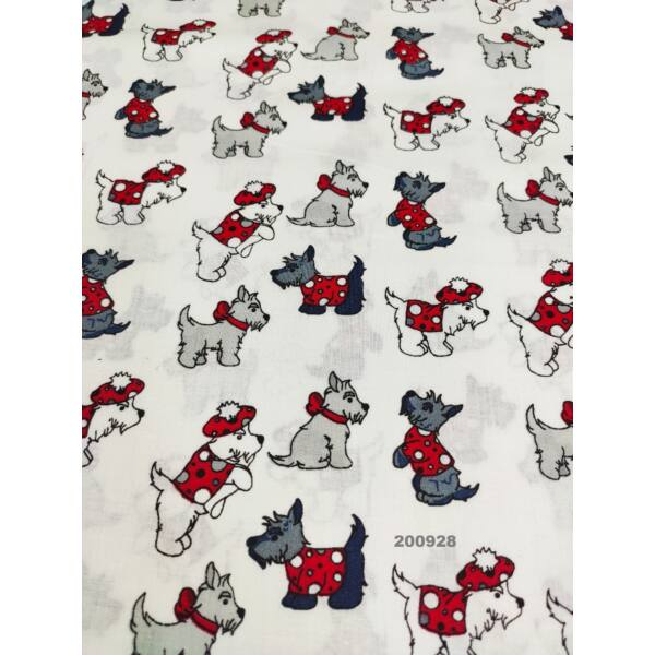 mintás pamutvászon / divatos kutyusok(masnis kutya álló 4cm*4cm)/ fehér