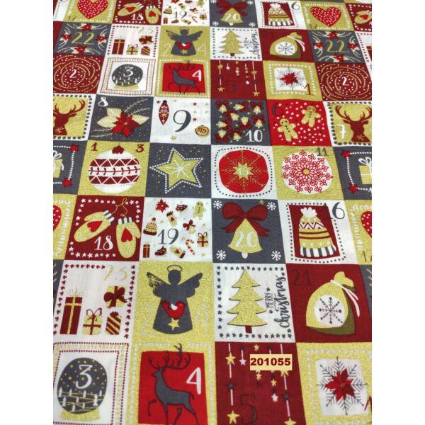 karácsonyi mintás pamut vászon /számos (4,2cm*4,2cm) /szürke