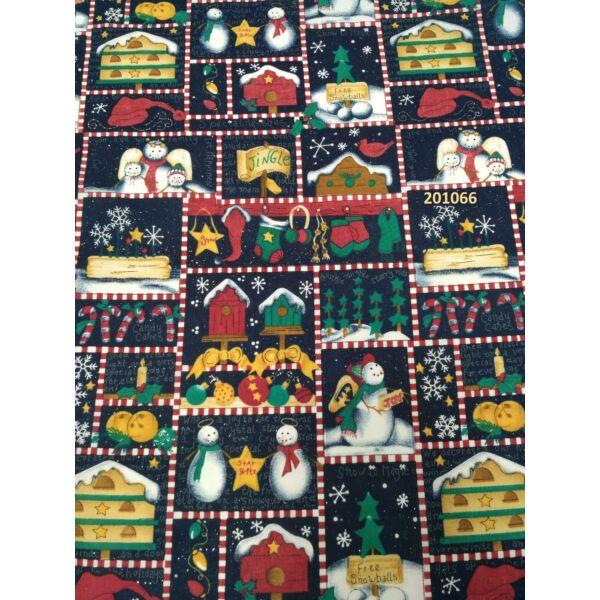 karácsonyi mintás vászon csillogó hópihékkel (hóember4,5cm*3,5cm)
