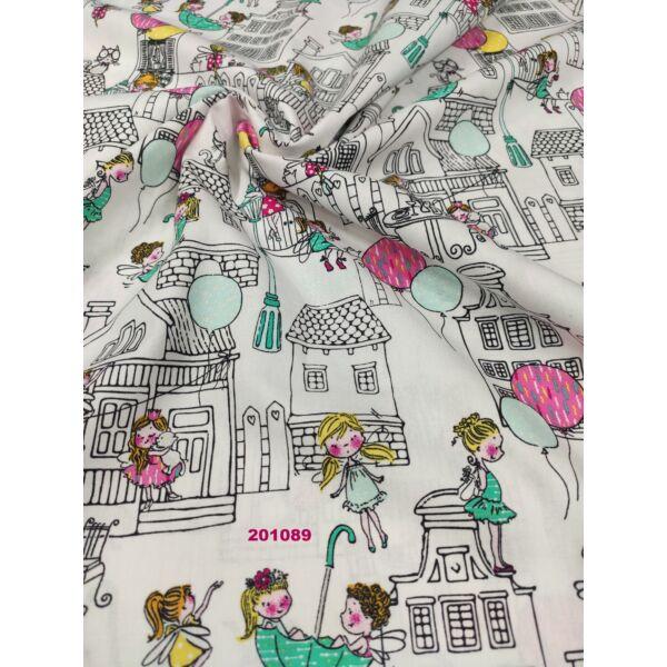mintás vászon /Szines kislányok (rózsaszín lufi 3cm)