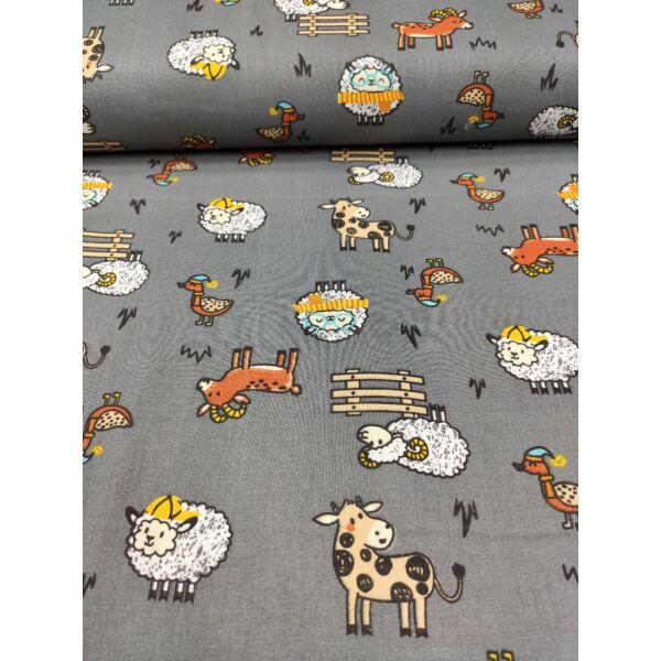 mintás pamutvászon /bolondos állatok (sapkás bárány 4.5cm×5cm) /szürke