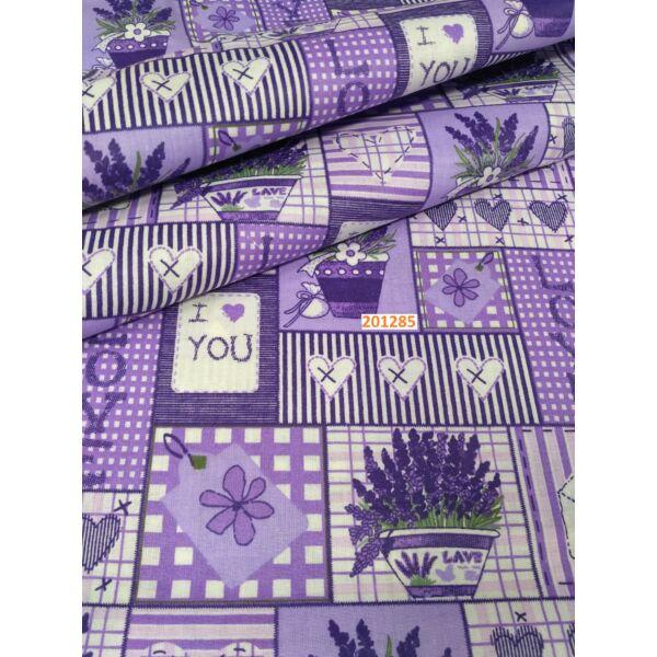 mintás pamutvászon /lila levendulás patchwork
