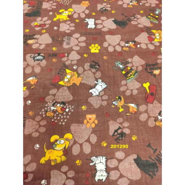 kevertszálas vászon/ kis kedvencek tappanccsal (sárga kutya 4,3cm*4,8cm)/ barna