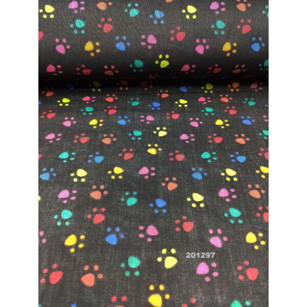 kevertszálas mintás vászon /színes tappancsok (2cm × 2cm) /fekete