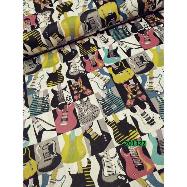 mintás vászon / szines gitárok (4,3cm*5,3cm ) (FÉLMÉTER)