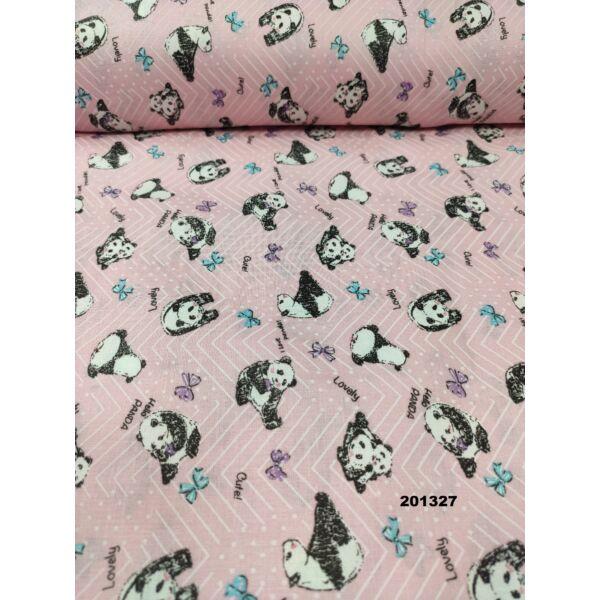 mintás pamutvászon /panda (2,5cm*2,5cm) /rózsaszín