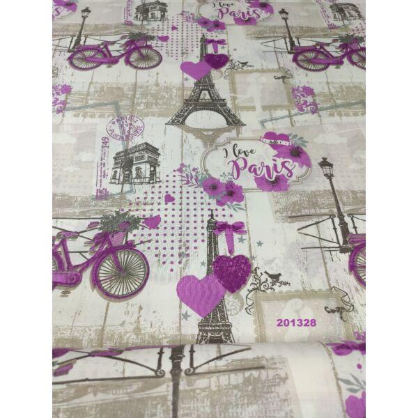 """mintás pamutvászon /""""I love Paris"""" (bicikli 13,5cm*7,5cm)"""