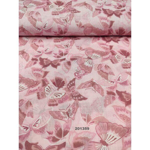 kevertszálas mintás vászon /díszes pillangók (legnagyobb 4.5cm × 7cm) /rózsaszín
