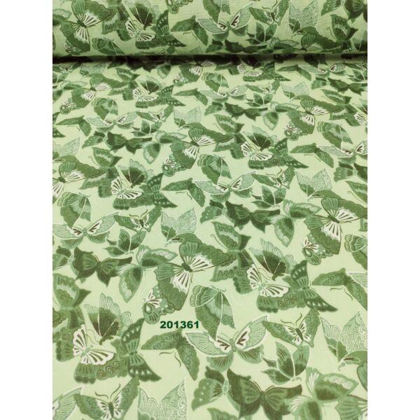 kevertszálas mintás vászon /díszes pillangók (legnagyobb 4.5cm × 7cm) /zöld