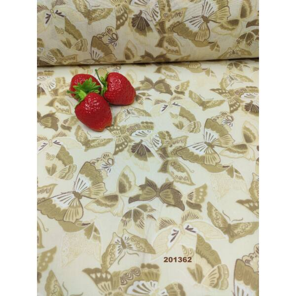 kevertszálas mintás vászon /díszes pillangók (legnagyobb 4.5cm × 7cm) /drapp