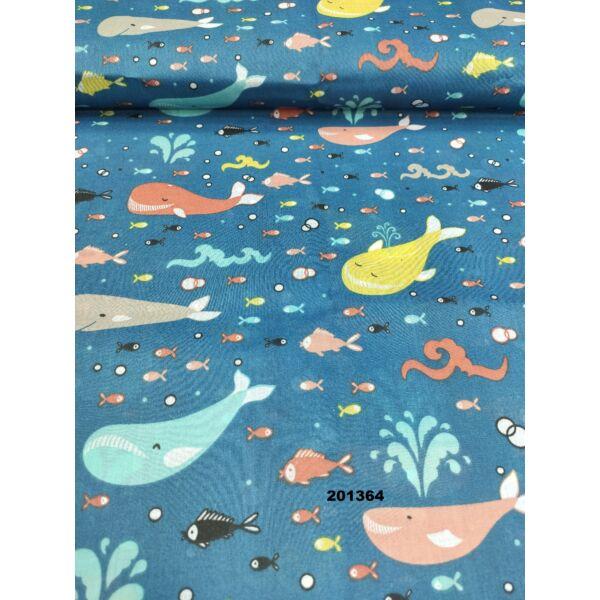 kevertszálas mintás vászon /vidám bálnák (sárga bálna 8cm × 9.5cm) /sötétkék