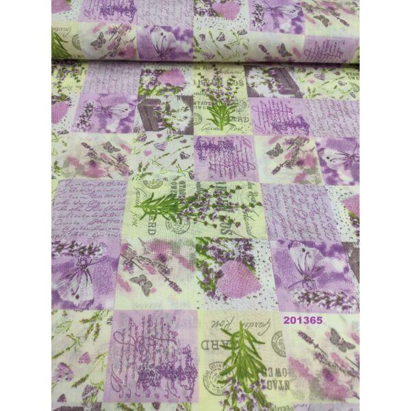 kevertszálas mintás vászon /a tavasz szeretete (levendula 7cm × 14.5cm) /lila-ekrü