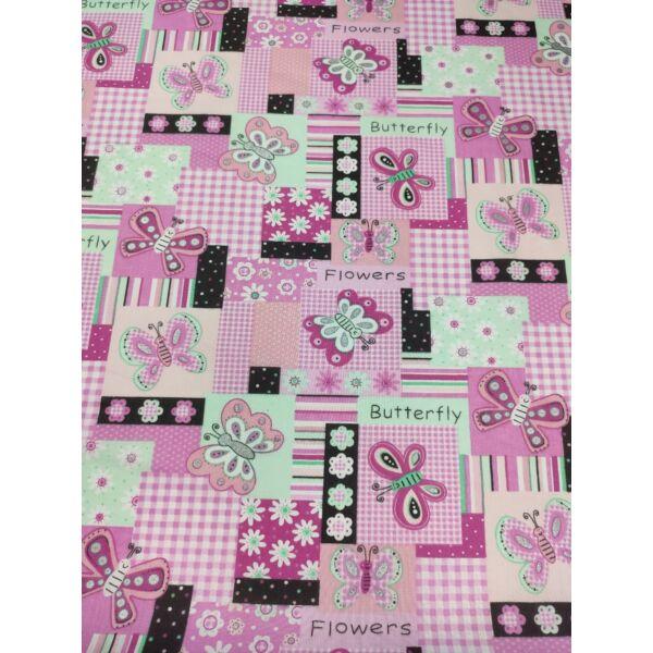 kevertszálas mintás vászon /patchwork Csillogó pillangók (ezüst testű pillangó 4.5cmx5.5cm) /rózsaszín-menta patchwork