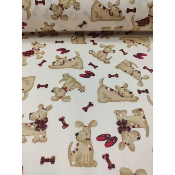 kevertszálas mintás vászon /Zsemle kutya (masnis kutya 6.5cmx8cm) /ecrü