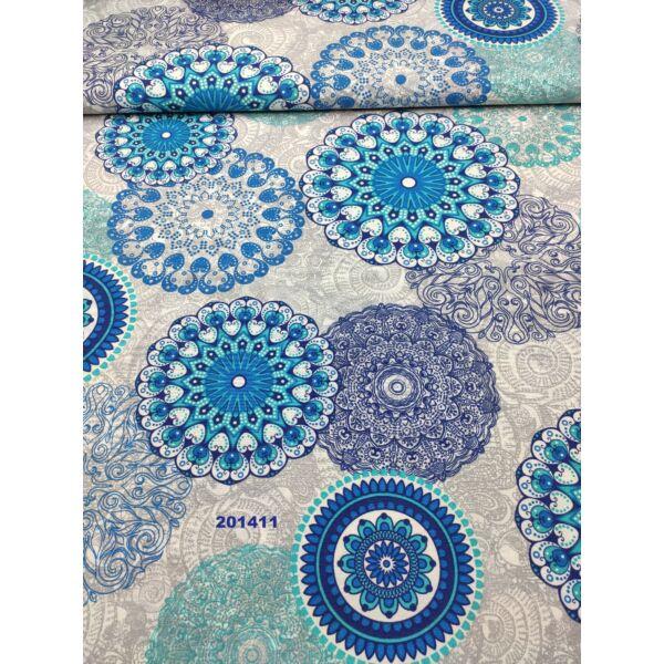 mintás LONETA vastag vászon/szürke-türkiz mandala(nagy mandala18cm*19,5cm)