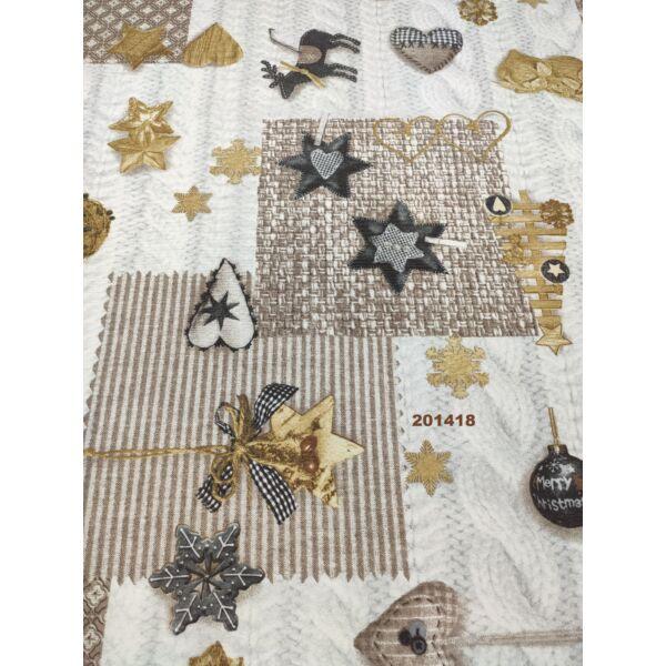 LONETA vastag vászon / karácsonyi varrott díszek (rénszarvas 9.5cm×9.5cm) /drapp