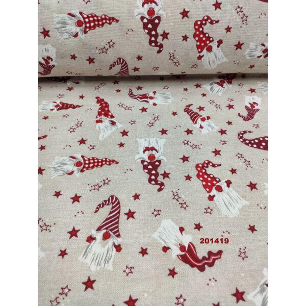 LONETA vastag vászon /karácsonyi manók csillagokkal (szívecske sapkás manó 8.5cm×4.5cm) /natúr melange