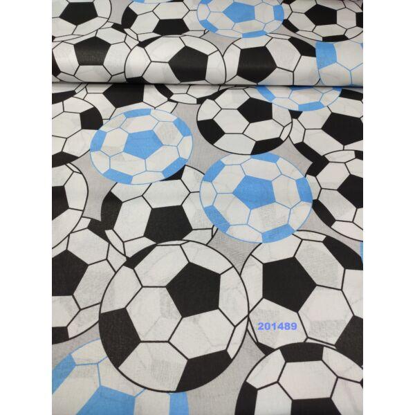 Mintás pamutvászon /focilabdák (kék labda 16cm)