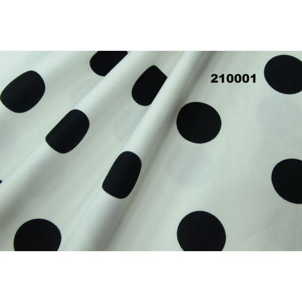 mintás elasztikus pamutszatén /pöttyös fehér-fekete 30mm