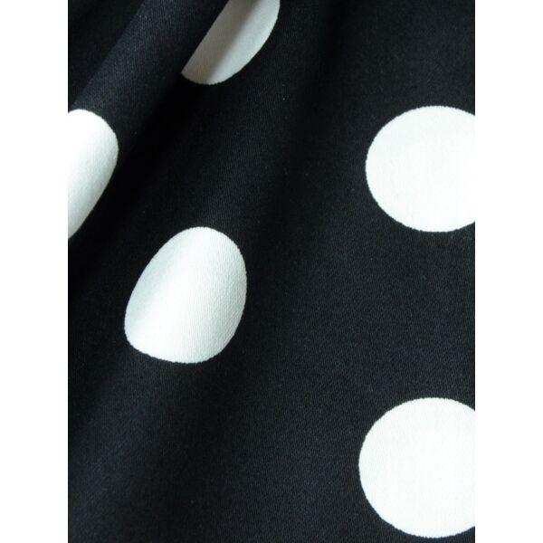 Sztreccs pamutszatén pöttyös fekete-fehér 40mm