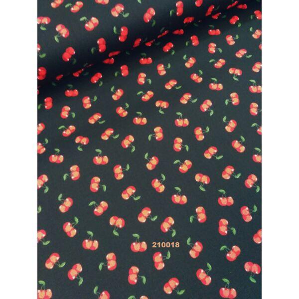 Vászon apró cseresznyés fekete alapon