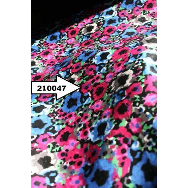 mintás elasztikus pamutszatén /pink virágos