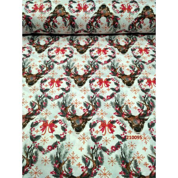 mintás vászon /piros masnis rénszarvas (szív 6,5cm*6,5cm)