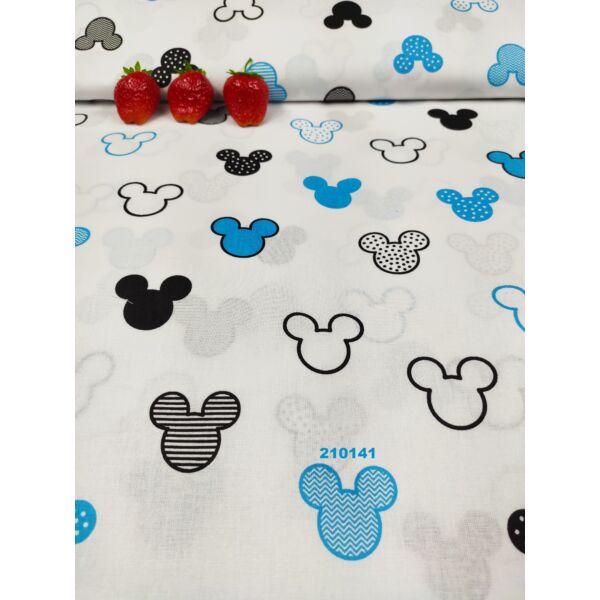 mintás vászon/ Mickey fejek (4,5cm*4cm)/ fehér-türkiz