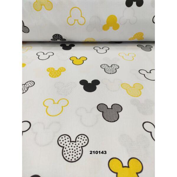 Mintás pamutvászon /Mickey fejek (4,5cm*4cm)/ fehér-sárga