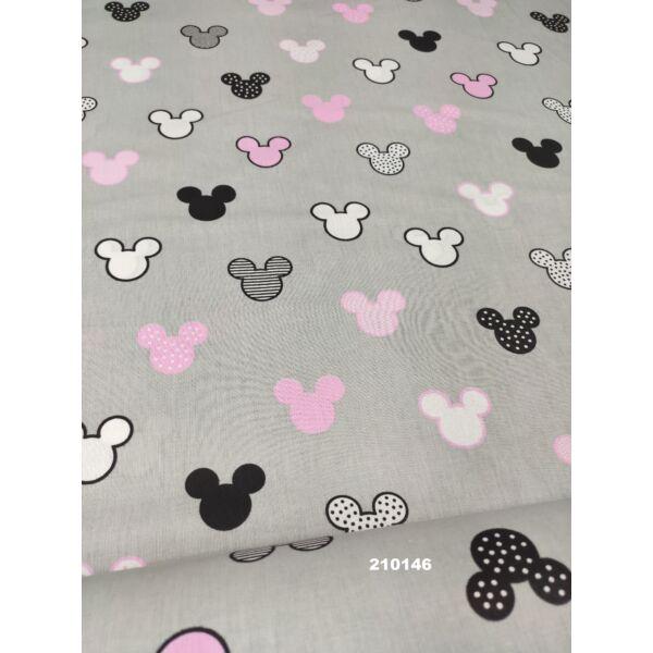 mintás vászon/ Mickey fejek (4,5cm*4cm)/ szürke-rózsaszín