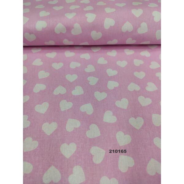 mintás pamutvászon /szív 3cm*3cm/ rózsaszín