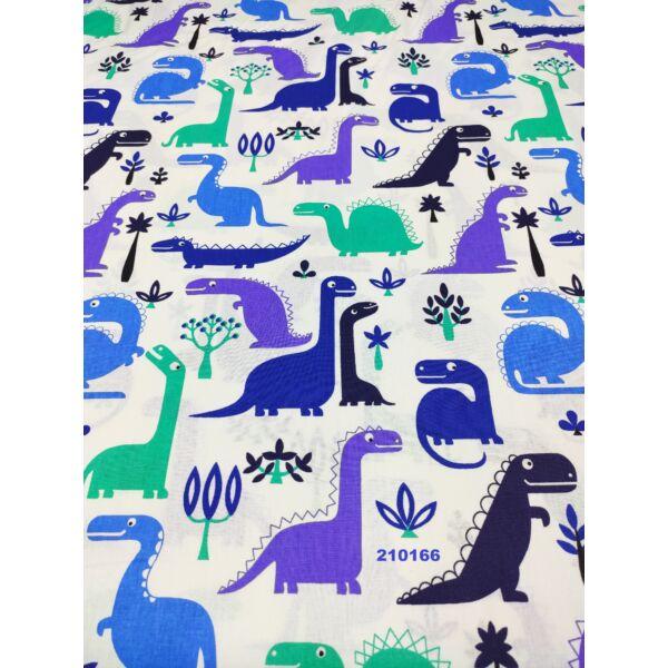 mintás vászon/ kék dínók (raptor 8cm*11cm)