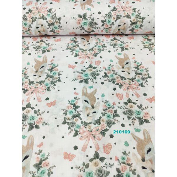 mintás vászon/ őzike virágkoszorúval (koszorú 11,5cm*12cm)/ fehér