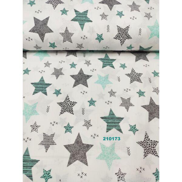 Mintás pamutvászon /pöttyös, csíkos kis-nagy csillag (csíkos 6,5cm*7cm)/ menta