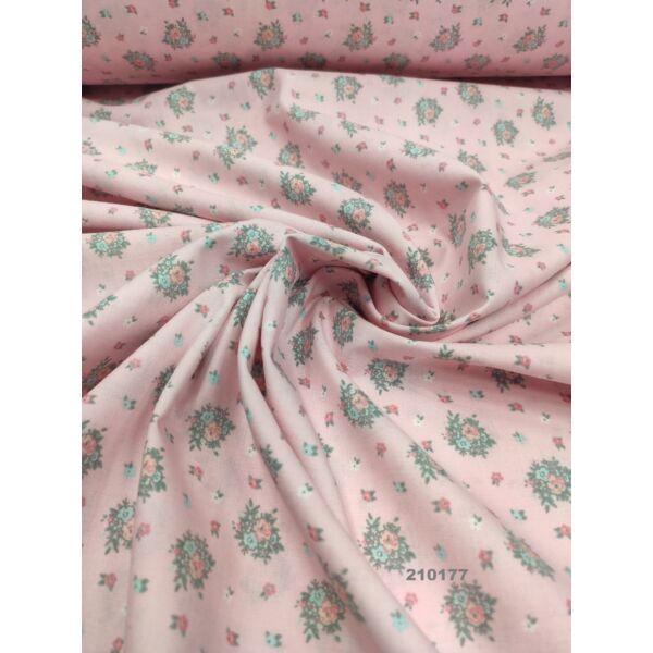 mintás pamutvászon /virágcsokrok/ rózsaszín