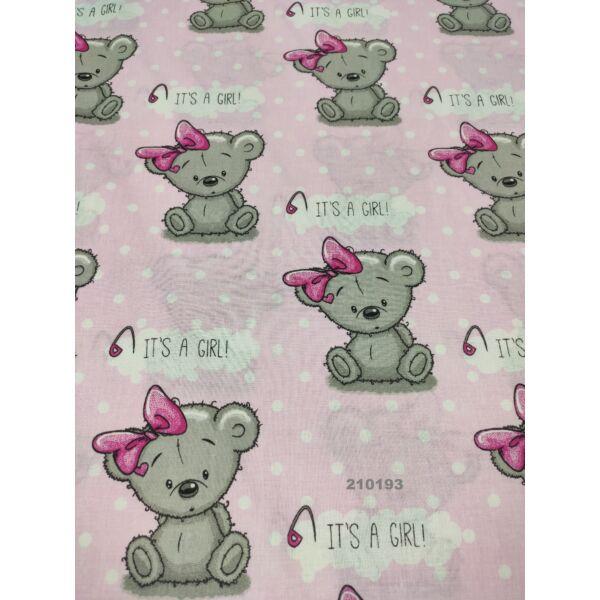 mintás pamutvászon /girl maci (9cm*10cm)/ rózsaszín
