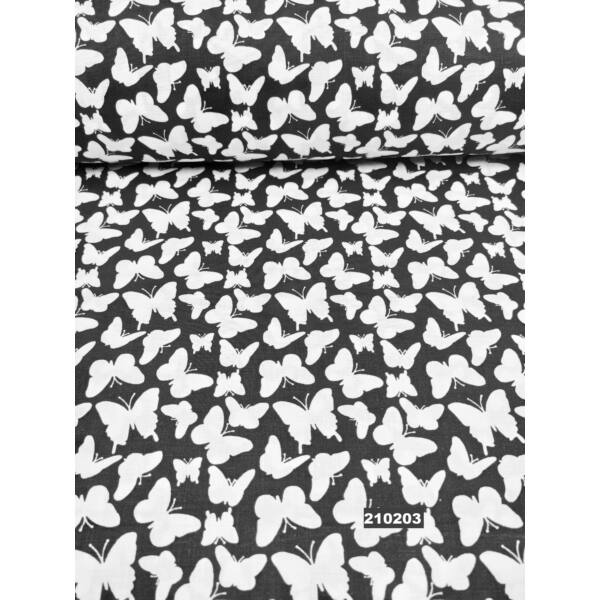 mintás pamutvászon /fehér pillangók (nagy lepke 3cm*3cm)/ fekete