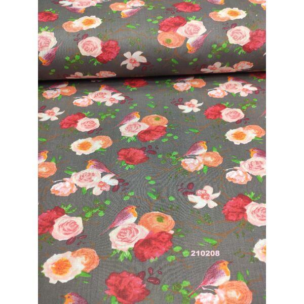 mintás pamutvászon /virágok madárral (madár rózsákkal 10cm*7cm)/ szürke