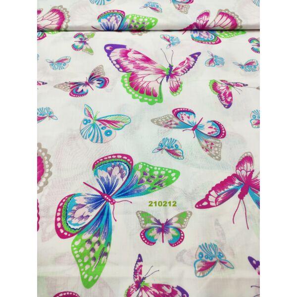 mintás pamutvászon /kicsi-nagy pillangók (pink-zöld pillangó 18cm ×14cm) /fehér