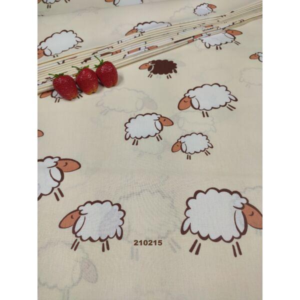 mintás pamutvászon /fehér-barna bárányok (nagy fehér bárány 11cm×9cm) /drapp