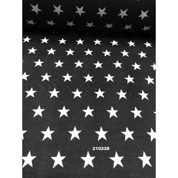mintás pamutvászon /fehér csillagok (csillag 2cm×2cm) /fekete
