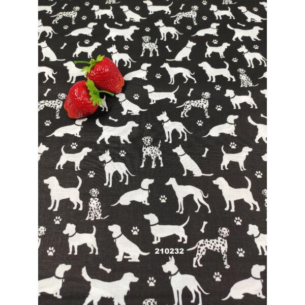 mintás pamutvászon / kutyák tappanccsal (ülő dalmata 3cm×2cm) /fekete