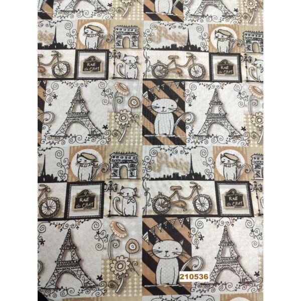 mintás vászon /cicák Párizsban (Eiffel torony 7cm*8cm)/drapp