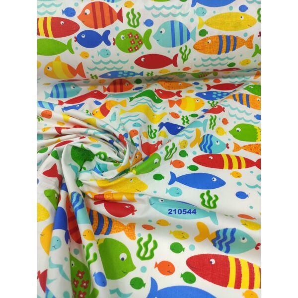mintás vászon /szines halacskák (virágos hal 6cm*3,5cm)