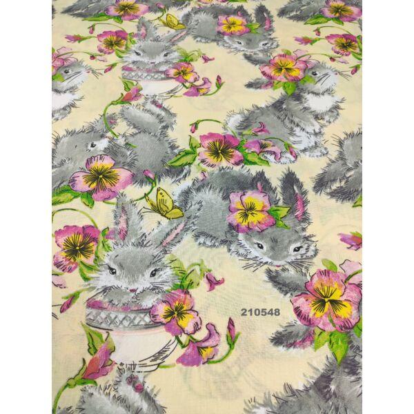 mintás vászon /nyuszi virággal (fekvő 14cm*11cm)