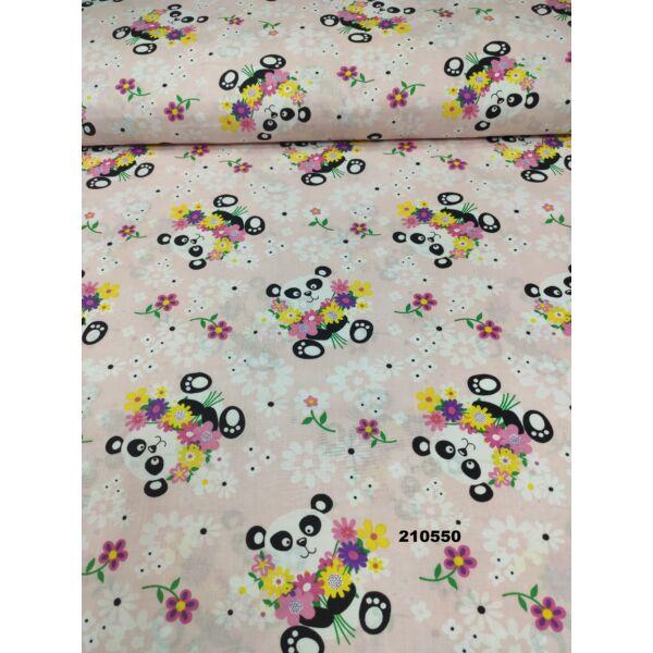 mintás vászon /panda macik virággal (panda 8cm*7,5cm) /rózsaszín