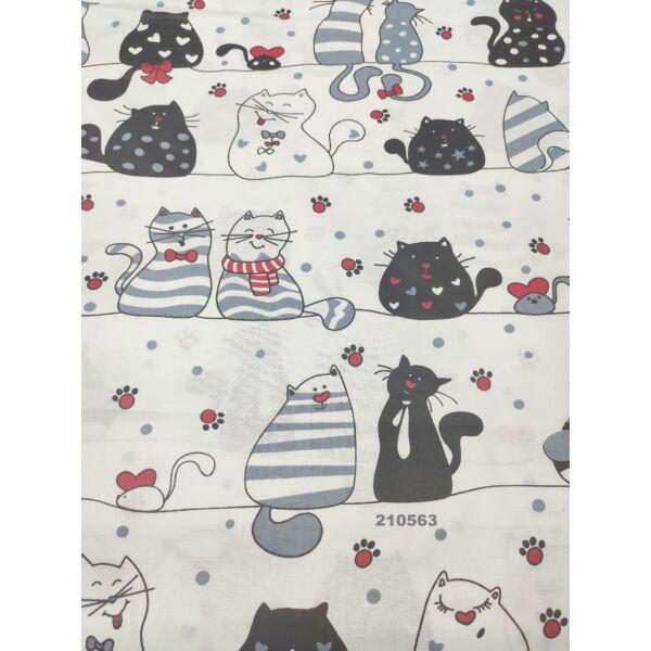mintás pamutvászon /szerelmes cicák (fekete cica szívvel 9,5cm*7cm) /fehér