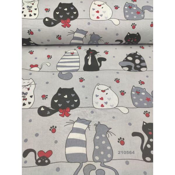 mintás pamutvászon /szerelmes cicák (fekete cica szívvel 9,5cm*7cm) /szürke