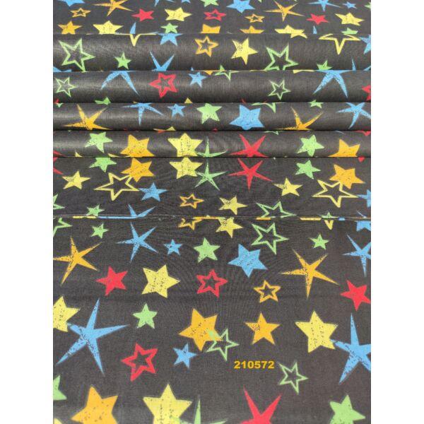 mintás pamutvászon /színes csillagok (tömör, kicsi, sárga 2cm)